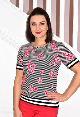 Frank Walder Short Sleeve Stripe Floral Print T-Shirt
