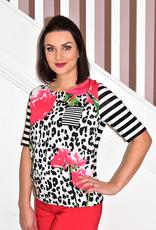 Frank Walder Floral & Animal Print Short Stripe Sleeve T-Shirt