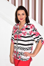 Frank Walder Floral & Animal Print Shirt Blouse With Turn Up Sleeves