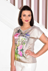 RABE ''Follow The Sun'' Slogan Print Top With Glitter Shimmer