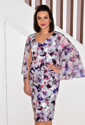 JOSEPH RIBKOFF Floral V Neck Print Dress With Sheer Sleeve