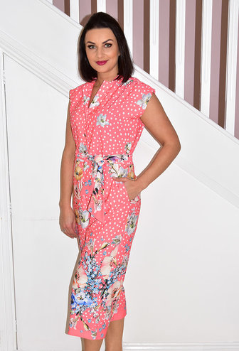 ARGGIDO Floral Printed Dress With Buttons & Tie Belt
