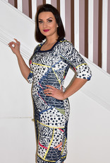 LIBRA Multi Coloured Print Dress With Navy Studs