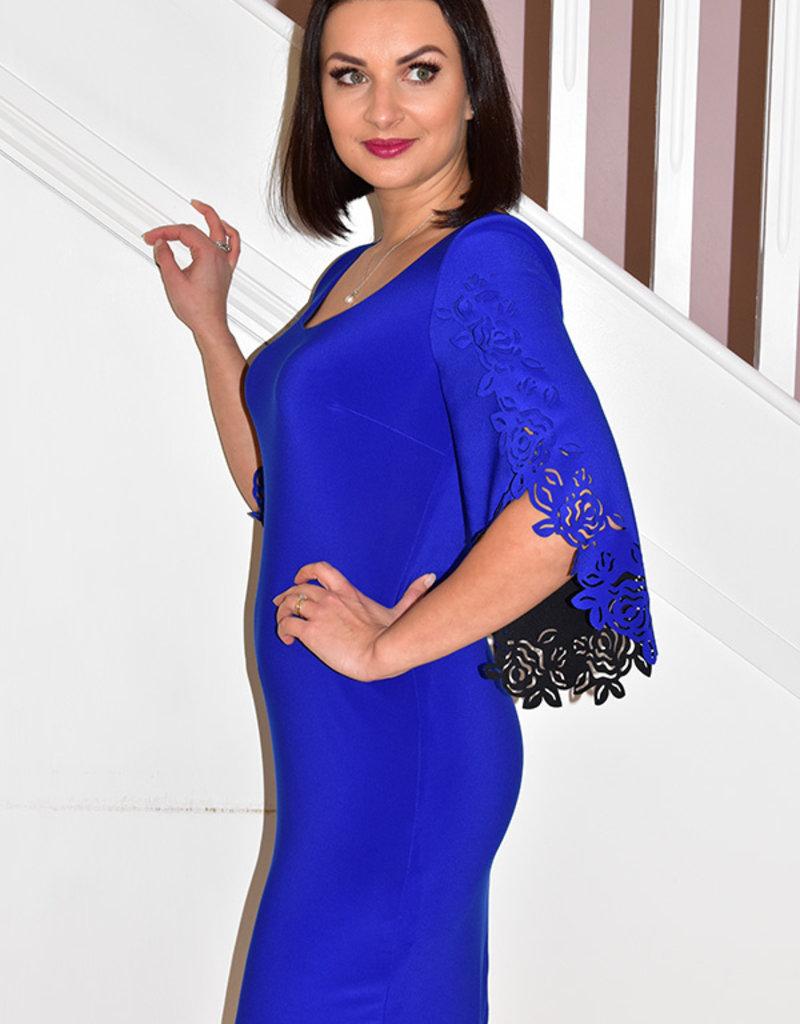JOSEPH RIBKOFF Royal Blue Dress With Cut Arm Detail
