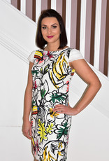 ARGGIDO Floral Patter Dress With Frill Short  Sleeves