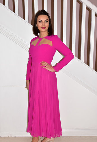 Carla Ruiz Fuchsia Pleated Skirt Dress