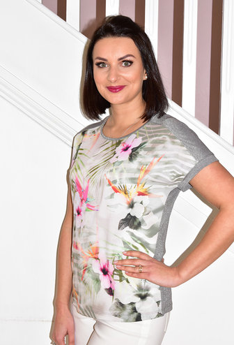 RABE Floral Pattern Top With Glitter Back