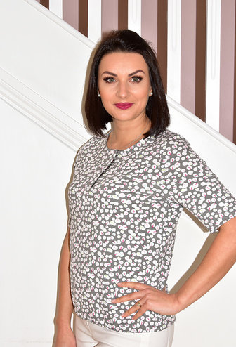 RABE Short Sleeve Top With Circle Pattern