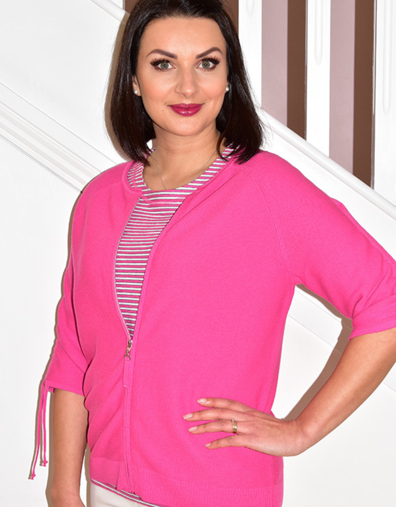 RABE Knitted Pink Zip Up With Short Sleeves