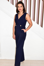 JOSEPH RIBKOFF Navy Jumpsuit With Gold Buttons