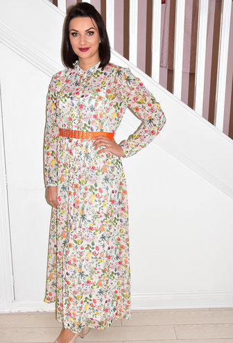 ARGGIDO Multi Pattern Maxi Dress With Belt
