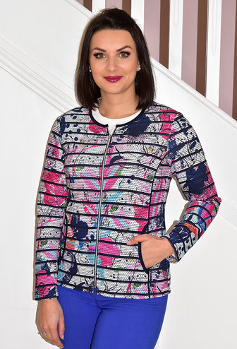 RABE Floral Print Jacket With Zip