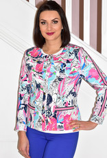 RABE Floral Print Jacket With Buttons & Stripe on Sleeve