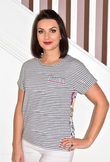 RABE Stripe Top With With Pocket & Floral Back