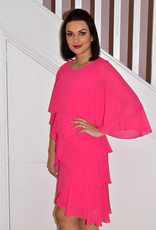 JOSEPH RIBKOFF Hyper Pink Dress With Multi Layer Tiers