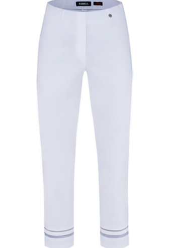 ROBELL White 'Marie' Trousers With Cut-Out Bottom