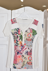 Kalisson Floral Pattern Kalisson Top With Studs & Buttons