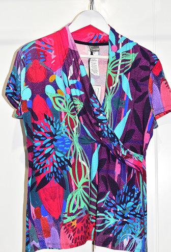 Dolcezza V Neck Multi Coloured Top With Multi Pattern