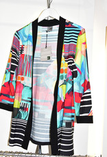 Dolcezza Multi Pattern Knit Cardigan With Black Panel