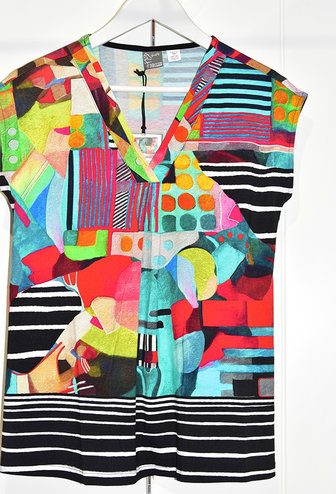 Dolcezza Multi Coloured Top With Stripe Pattern