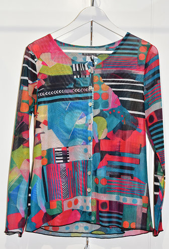 Dolcezza Multi Coloured & Patterned Button Up Cardigan
