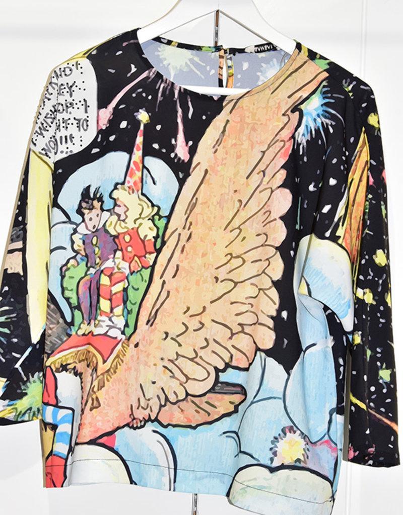 Samsara Lightweight Batwing Blouse With Fantasy Print
