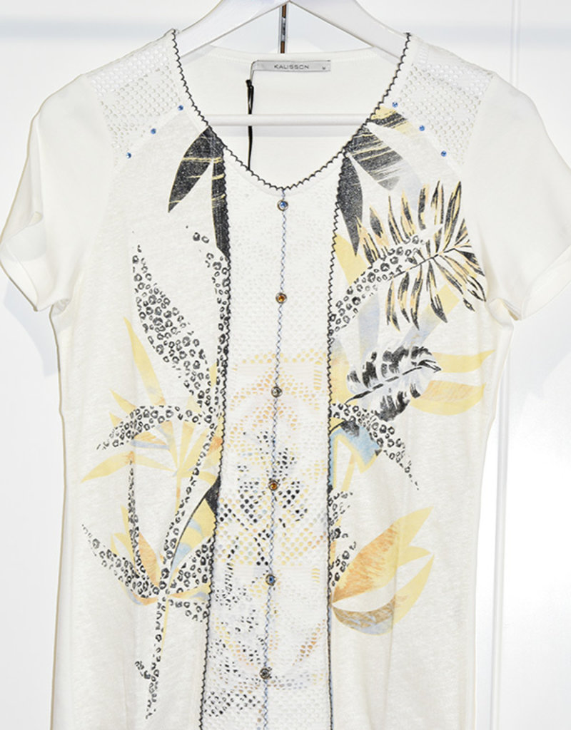 Kalisson Kalisson Top With Round Neck & Button Effect on Middle