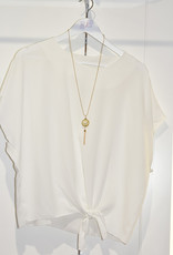 marina fashion Plain White Top With Tie Detail & Necklace