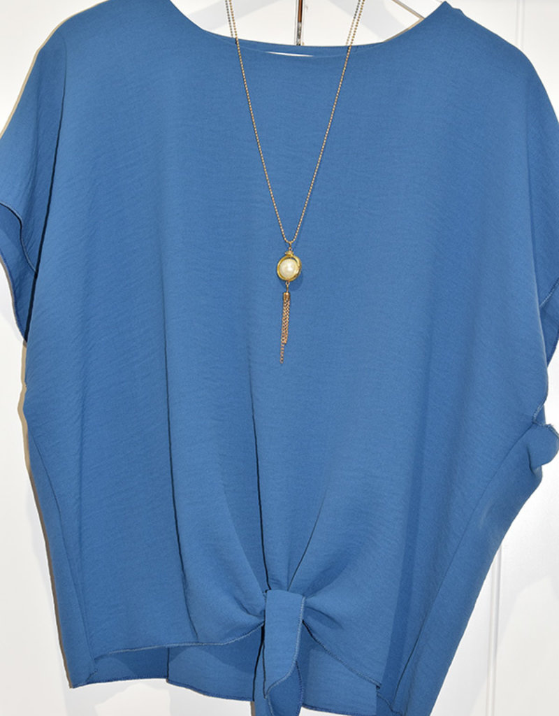 marina fashion Plain Blue Top With Tie Detail & Necklace