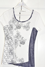 Kalisson Blue/White Lace Top With Floral Pattern