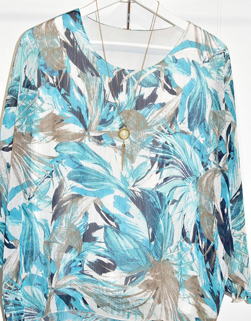 marina fashion Leaf Pattern Top With Round Neck & Neckalace