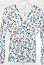 pinka New Collection Blue Top With Floral & Pleats