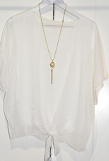 marina fashion M.R Top White With Tie Detail & Necklace