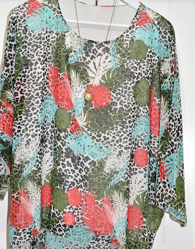marina Leopard Print Top With Leaf Pattern