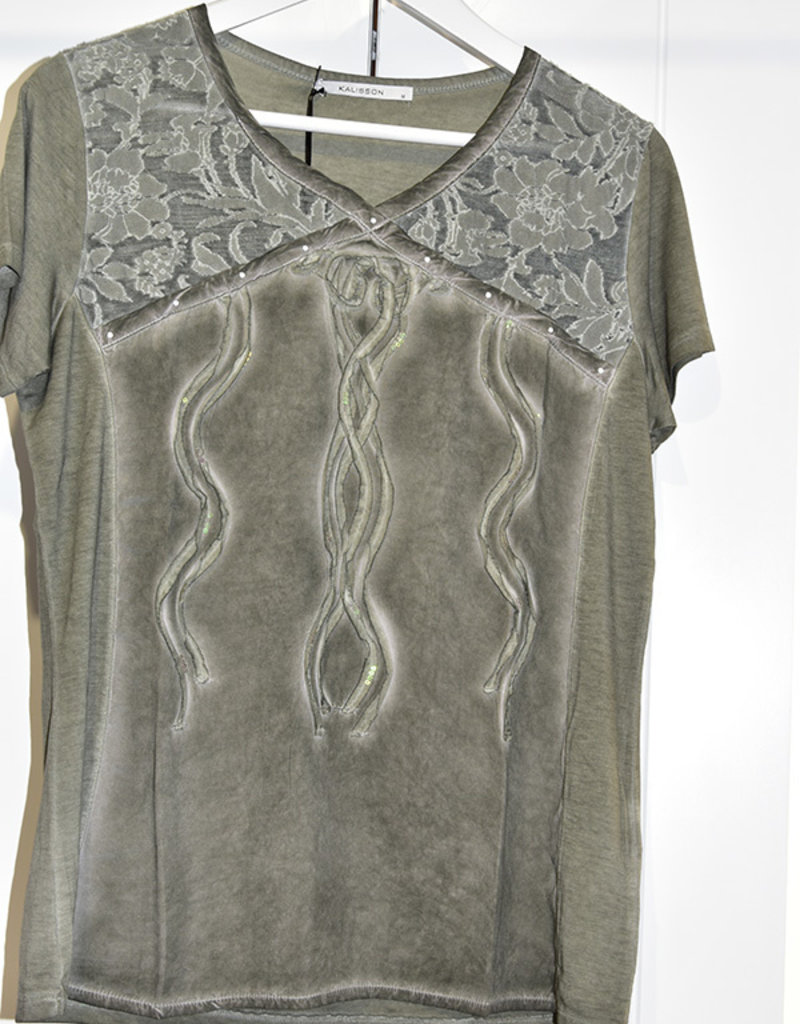 Kalisson Green T-Shirt With Sequin Detail
