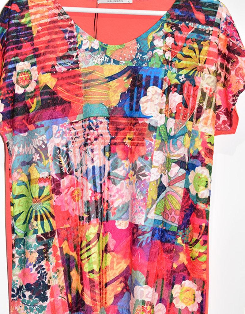 Kalisson Colourful Floral Block Print T-Shirt