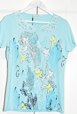 Kalisson Light Blue Floral Print Top with Flower & Sequin Detail