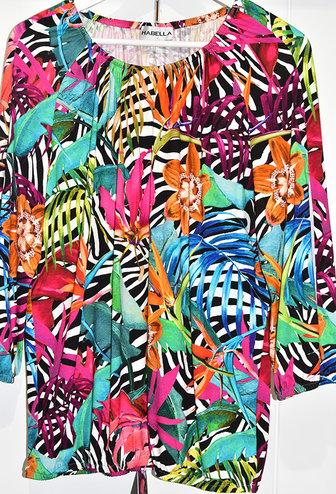HABELLA Zebra & Floral Print Top With Elasticated Cuffs