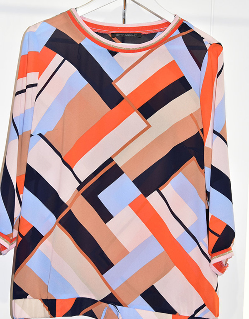 BETTY BARCLAY Lightweight Block Pattern Multi Coloured Top with Elastic Waist Band