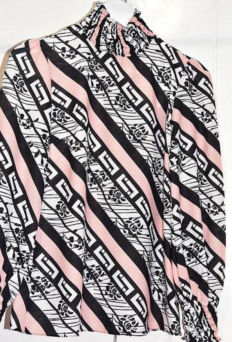 Samsara Geometric Print Blouse With Elasticated Cuffs & Collar