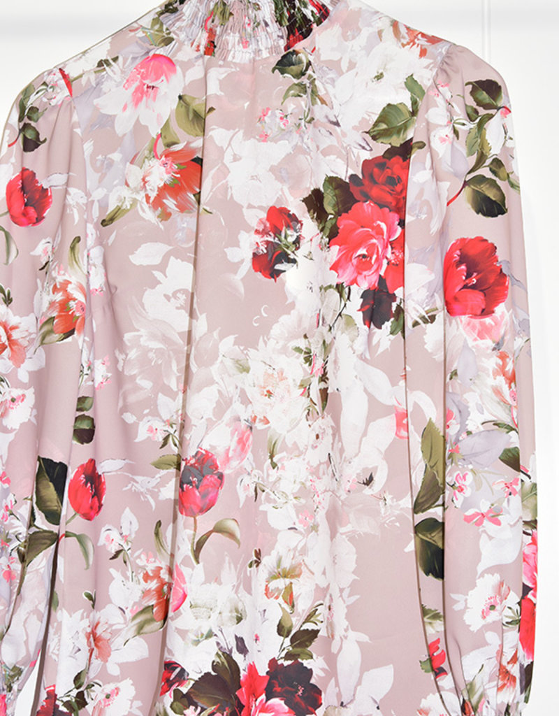 Samsara Beige Floral Blouse With Elasticated Cuffs & Collar