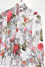Samsara Floral Blouse With Elasticated Cuffs & Collar
