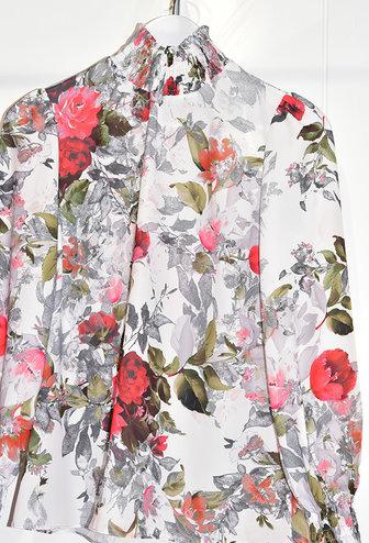 Samsara Floral Blouse With Elasticated Cuffs & Collar