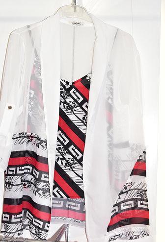 Samsara Sheer Blouse with Red Geometric Print Cami