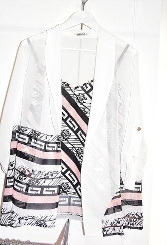 Samsara Sheer Blouse with Pink Geometric Print Cami