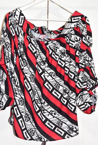 Samsara Geometric Print Blouse With Ruffle Sleeves