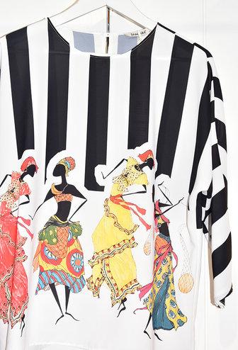 Samsara White Batwing Blouse With Stripes