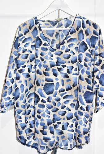 Vanny Paris Blue Feather Print Top With Gold Stripe