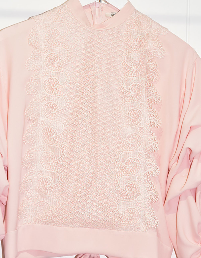 Samsara Pink Blouse With Ruffle Sleeves & Lace Front