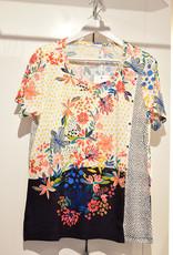 BAGORAZ Floral & Polka Dot Print Top With Button Effect
